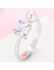 Fashion Silver Color Diamond& Bead Decorated Simple Design Pure Color Opening Ring