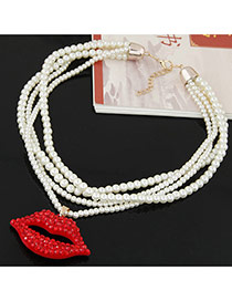 Fashion White+red Lip Shape Pendant Decorated Multilayer Design Short Chain Necklace