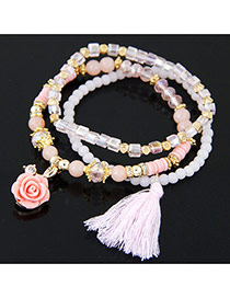 Trendy Multi-color Tassel& Flower Shape Pendant Decorated Multilayer Design Bracelet