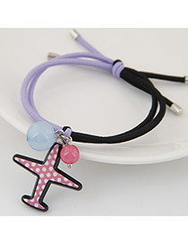 Fashion Multi-color Bead& Airplane Shape Pendant Decorated Bilayer Design Hairband