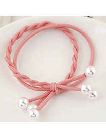 Trendy Pink Bead Decorated Bilayer Design Pure Color Hairband