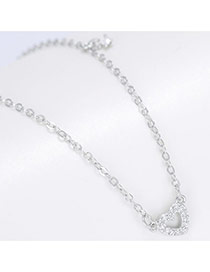 Trendy Silver Color Hollow Out Heart Shape Pendant Decorated Pure Color Simple Design Necklace
