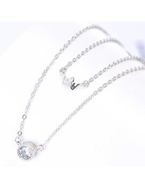 Fashion Silver Color Crownd& Round Shape Pendant Decorated Simple Design Pure Color Necklace