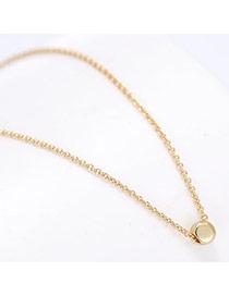 Trendy Gold Color Round Shape Pendant Decorated Bilayer Design Pure Color Necklace