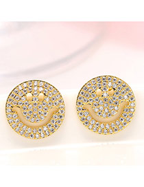 Fashion Gold Color Diamond Decorated Smiling Face Shape Design Hollow Out Earrings