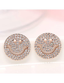 Delicate Rose Gold Color Diamond Decorated Smiling Face Shape Design Hollow Out Earrings