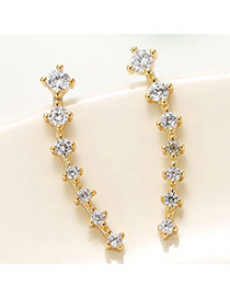 Trendy Gold Color Diamond Decorated Geometric Shape Design Pure Color Earrings
