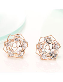 Delicate Rose Gold Color Diamond Decorated Hollow Out Rose Flower Shape Design Earrings