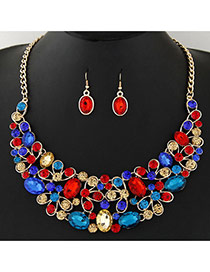 Trendy Multi-color Diamond Decorated Geometric Shape Pendant Design Jewelry Sets