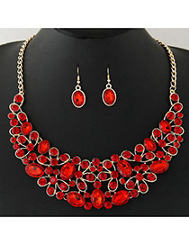 Fashion Red+gold Color Diamond Decorated Geometric Shape Pendant Design Jewelry Sets