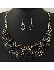 Trendy Black+gold Color Diamond Decorated Geometric Shape Pendant Design Jewelry Sets