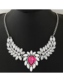 Fashion Pink+silver Color Waterdrop& Leaf Shape Pendant Decorated Simple Design Jewelry Sets