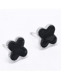 Sweet Black Clover Shape Decorated Simple Earring