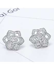Sweet Silver Color Hollow Out Rose Flower Decorated Simple Earring