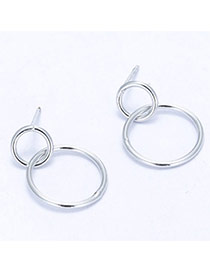 Sweet Silver Color Double Round Shape Pendant Decorated Simple Earring