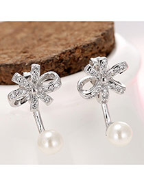 Sweet Silver Color Hollow Out Bowknot Shape Decorated Simple Earring