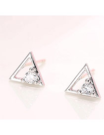 Sweet Silver Color Diamond Decorated Triangle Shape Earring
