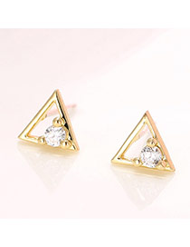 Sweet Gold Color Diamond Decorated Triangle Shape Earring