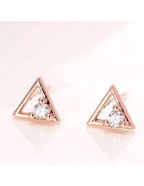 Sweet Rose Gold Diamond Decorated Triangle Shape Earring