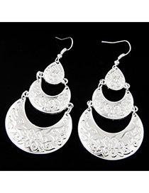 Fashion Silver Color Crescent Moon Shape Decorated Multi-layer Pure Color Earrings