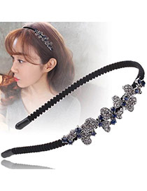 Vintage Black+silver Color Asymmetric Bowknots Decorated Simple Hair Hoop
