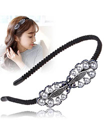 Vintage Black+silver Color Pearls&diamond Decorated Bow Tie Shape Simple Hair Hoop