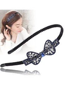 Vintage Sapphire Blue+black Square Shape Diamond Decorated Hollow Out Bow Tie Shape Hair Hoop