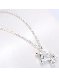 Sweet Silver Color Cockhorse Pendant Decorated Pure Color Simple Necklace