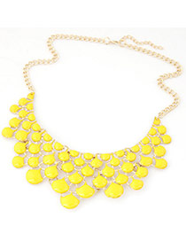 Delicate Fluorescent Yellow Geometric Shape Design Hollow Out Short Chain Necklace
