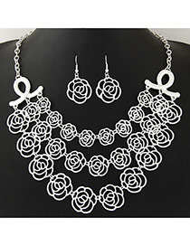Personality Silver Color Rose Flower Shape Decorated Hollow Out Design Multilayer Jewelry Sets