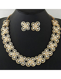 Exaggerate Gold Color Butterfly Shape Decorated Hollow Out Design Jewelry Sets