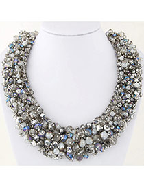 Trendy Multi-color Bead Decorated Hand-woven Simple Design Necklace