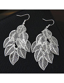 Fashion Silver Color Metal Leaf Decorated Pure Color Design Simple Earrings