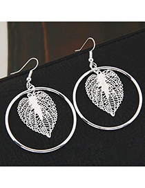 Fashion Silver Color Leaf & Round Shape Decorated Oure Color Design Earrings