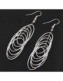 Fashion Silver Color Round Shape Decorated Pure Color Design Earrings