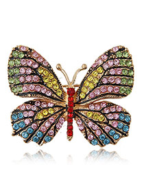 Delicate Mutil-color Diamond Decorated Butterfly Design Simple Brooch