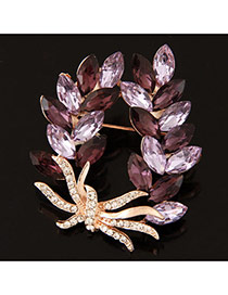 Delicate Light Purple Waterdrop Shape Diamond Decorated Simple Brooch