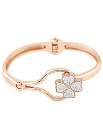 Elegant Gold Color+black Diamond Clover Shape Decorated Simple Bracelet