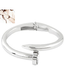 Exaggerated Silver Color Diamond Decorated Nail Shape Simple Bracelet