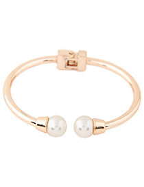Elegant Gold Color Double Pearls Decorated Opening Simple Bracelet