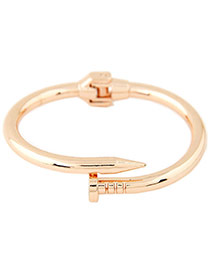Exaggerated Rose Gold Color Pure Color Decorated Nail Shape Design Bracelet