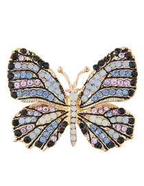 Sweet Multi-color Diamond Decorated Butterfly Shape Brooch