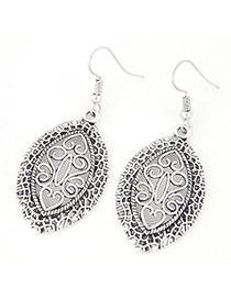 Vintage Anti-silver Color Hollow Out Oval Shape Pendant Decorated Simple Earring