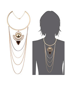 Fashion Gold Color Multi-layer Tassel Decorated Simple Necklace