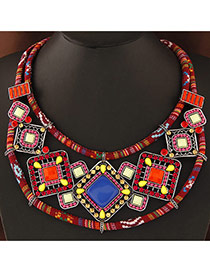 Trendy Multi-color Square Shape Gemstone Decorated Double Layer Collar Necklace