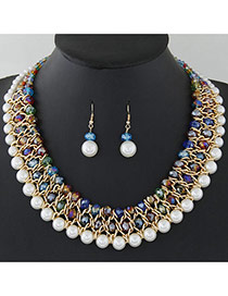 Fashion Multi-color Pearls&diamond Decorated Multi-layer Jewelry Sets