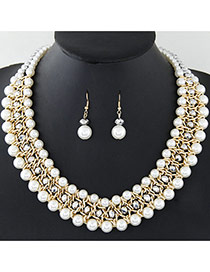 Fashion White+silver Color Pearls Decorated Multi-layer Hand-woven Jewelry Sets