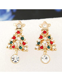 Personlity Multil-color Christmas Trees Shape Decorated Simple Earrings