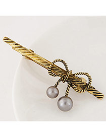 Sweet Brozen Bowknot Decorated Pure Color Hair Clip