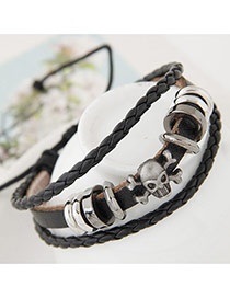 Fashion Black Metal Skull Shape Decorated Hand-woven Bracelet